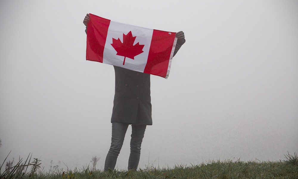 Canadian flag in the mist